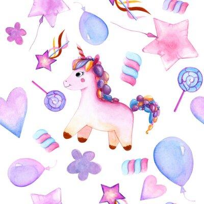 Плакат seamless design. unicorn. Balloons. candy on a stick. marshmallows. flower. magic wand star. watercolor. happy Birthday