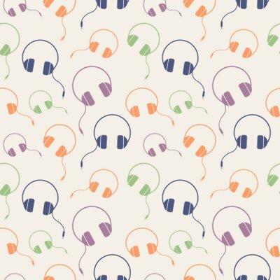 Плакат Бесшовные музыкальный вектор, хаотический фон с красочными наушниками, на светлом фоне