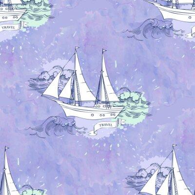 Плакат Бесшовные PATT волны корабли