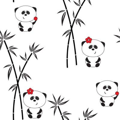Плакат Бесшовные шаблон, векторные иллюстрации, смешные панды