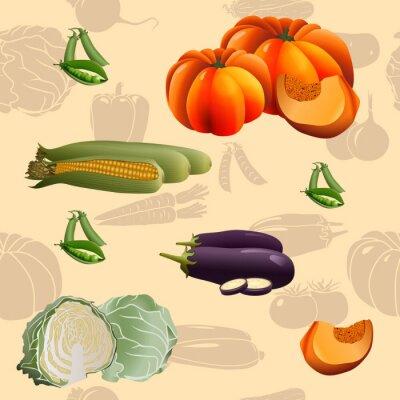 Плакат бесшовные модели овощи: кукуруза, тыква