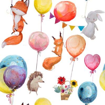 Плакат Бесшовный узор с животными с воздушными шарами
