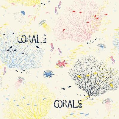 Плакат Бесшовные с вентилятором кораллов, медуз, морских коньков и рыб силуэты