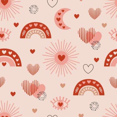 Плакат seamless pattern with love boho sun, rainbow, moon