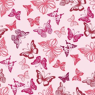 Плакат Бесшовные с силуэты бабочек