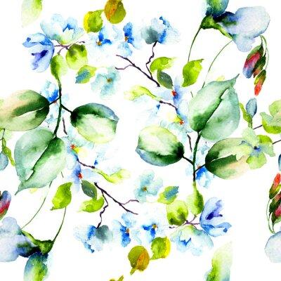 Плакат Бесшовные с весенними цветами