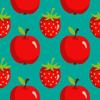 Плакат Бесшовные с клубникой и яблоками