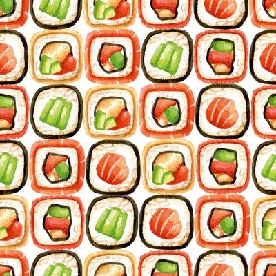 Плакат Бесшовные с суши рулонах
