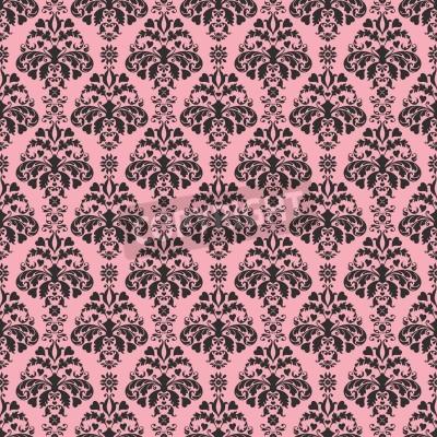 Плакат Seamless Pink   Black Damask