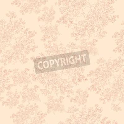 Плакат бесшовные ретро рисунок с цветами в стиле рококо, потертый шик мотив