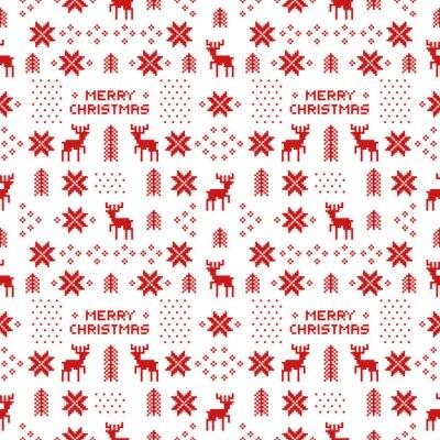 Плакат бесшовные ретро красный узор Рождество с оленями, деревья и снежинки