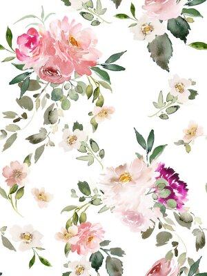Плакат Seamless summer pattern with watercolor flowers handmade.