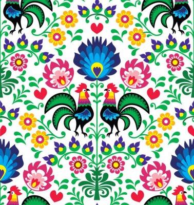 Плакат Seamless traditional floral Polish pattern - Wzory Łowickie
