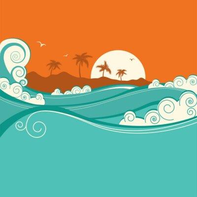 Плакат Море фоне.Векторные иллюстрации