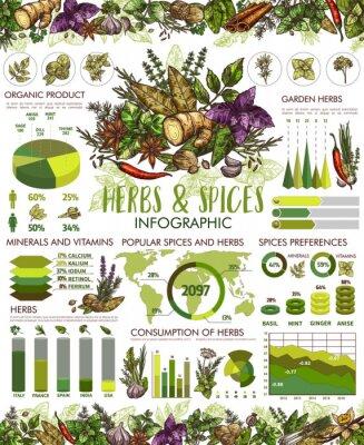 Плакат Seasonings, herbs and spices infographic