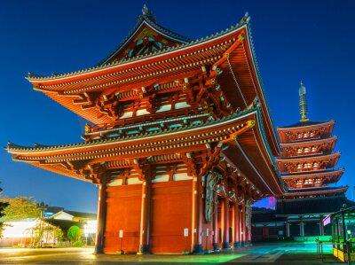 Плакат Senso-дзи, Храм в Асакуса, Токио, Япония.