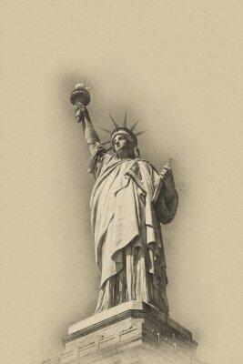 Плакат Сепия тонированное художественное изображение Статуи Свободы