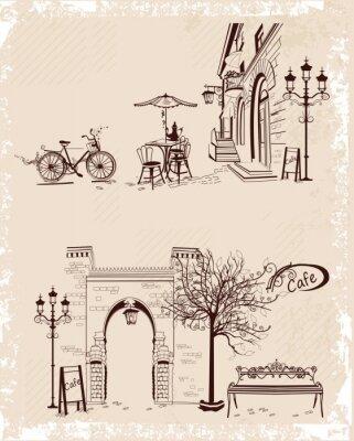 Плакат Серия фонов, украшенных Старый вид на город и уличных кафе.