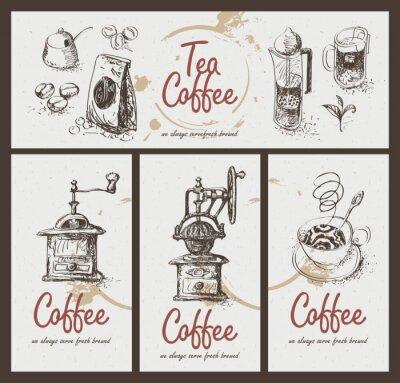 Плакат установить рисунок посуду для питья чая и кофе