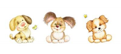 Плакат Набор из 3-х симпатичных щенков