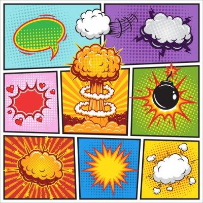Плакат Set of comics speach and explosion bubbles 2