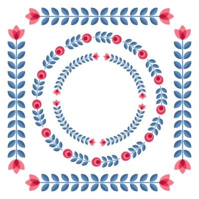 Плакат Набор элементов дизайна - круглые цветочных рамок