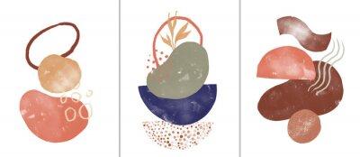 Плакат Set of digital art illustrations, contemporary minimalist abstract modern