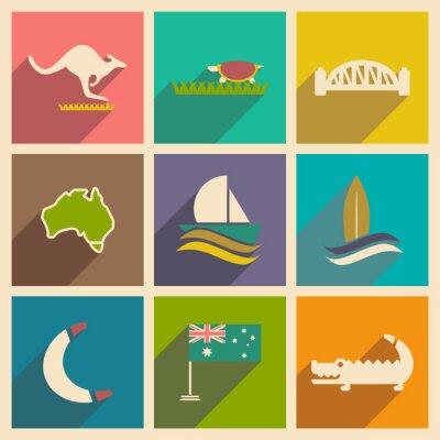 Плакат Набор плоских иконок с длинной тенью Australian