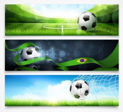 Плакат Набор футбольных баннеров. Вектор