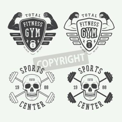 Плакат Набор гимнастики логотипы, этикетки и значки в стиле винтаж