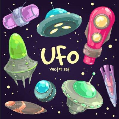 Плакат Набор рисованной НЛО