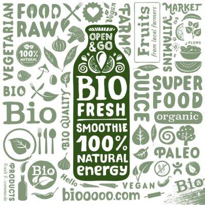 Плакат Набор органических этикетки и значки для природного био продуктов питания