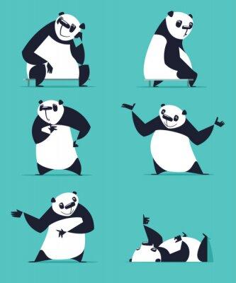 Плакат Набор Panda в различных позах. Сидя, мечтая, думая, показывая, лежа, приглашая, поворачиваясь. Каждый Panda находится в отдельном слое.