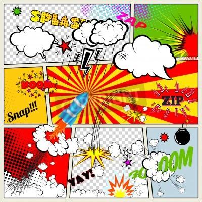 Плакат Набор ретро комиксов элементы дизайна вектор, слова и мысли пузыри