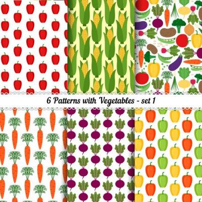 Плакат Набор бесшовных паттернов с различными овощами