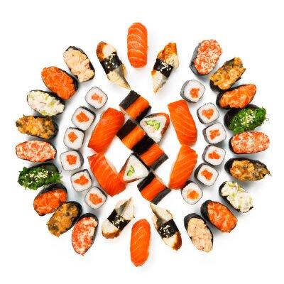 Плакат Set of sushi, maki, gunkan and rolls isolated at white