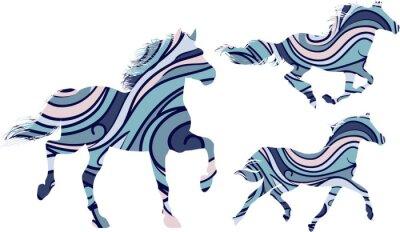 Плакат Набор из трех голубых узорчатых силуэты лошадей, работающих