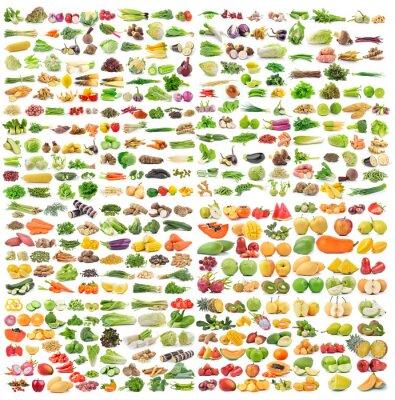 Плакат Набор овощей и фруктов на белом фоне