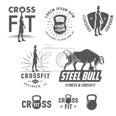 Плакат Набор старинных гербов CrossFit и элементов дизайна