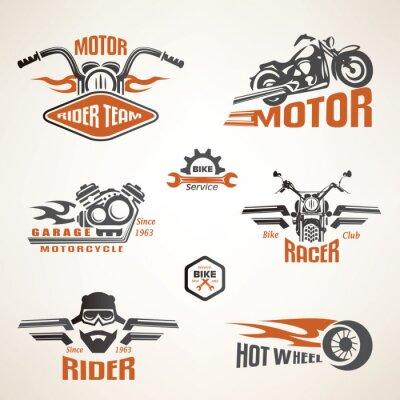 Плакат Набор старинных мотоциклов этикетки, значки и элементы дизайна