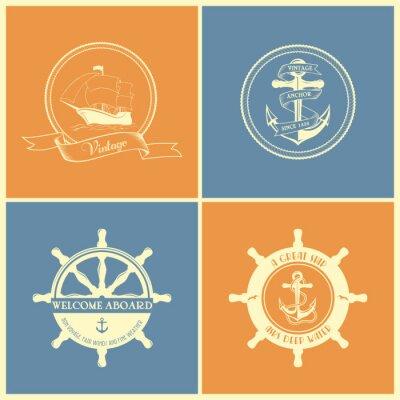 Плакат Набор старинных ретро Морские значки и этикетки