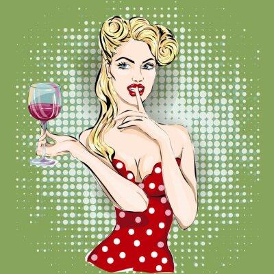 Плакат Тссс поп-арт лицо женщины с пальцем на ее губы и бокал вина