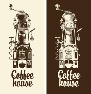Плакат Вход Retro кофейню и кофемолки с крышей