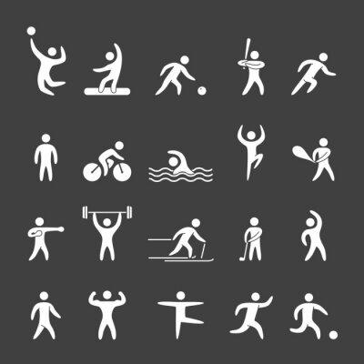 Плакат Силуэт фигуры спортсменов популярных видов спорта