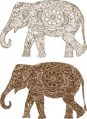 Плакат Силуэт слона в индийских моделей Mehendi
