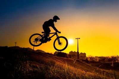 Плакат Силуэт Stunt Bmx Rider - цветовой тон настроен