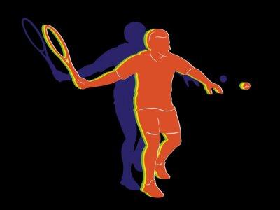 Плакат Силуэт теннисист, векторный рисунок