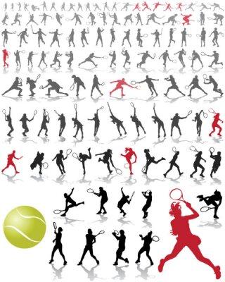 Плакат Силуэты и тени теннисистов, векторные иллюстрации