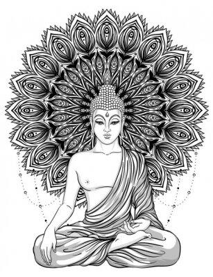 Плакат Сидящий Будда над богато украшенным розовым цветком. Эзотерические старинные векторные иллюстрации. Индийский, буддизм, духовное искусство. Татуировка хиппи, духовность, тайский бог, йога дзен