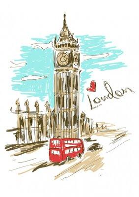 Плакат Эскиз иллюстрация Big Ben башни